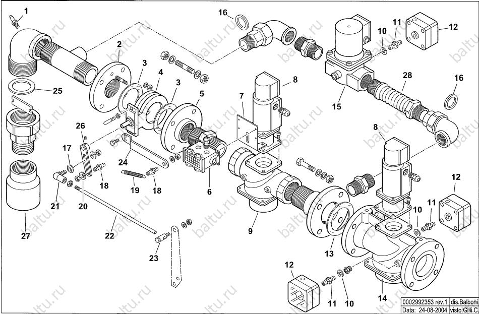 комплект поставки газовой рампы к горелке балтур комист 300